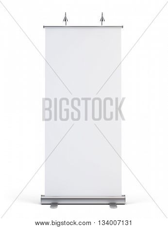 Blank roll up banner display islated on white background.Template mockup.3d render