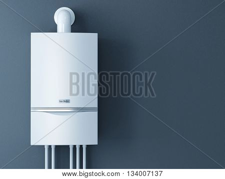 Modern home gas fired boiler. Heating a house concept. 3d rendering