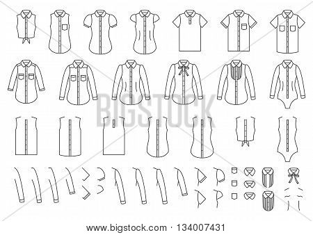 Vector set of female and male shirts elements for combining