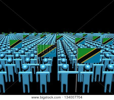 Crowd of abstract people with many Tanzanian flags 3d illustration