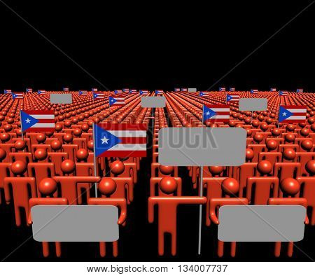 Crowd of people with signs and Puerto Rico flags 3d illustration
