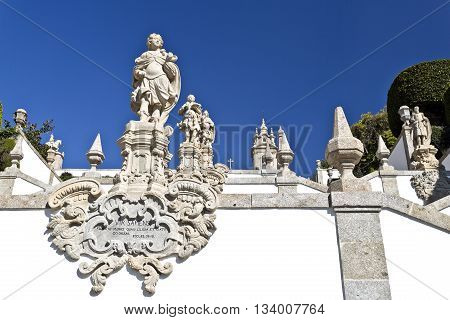 Detail of the ornaments on the stairway leading to the Basilica of Bom Jesus (Good Jesus) in Braga Portugal