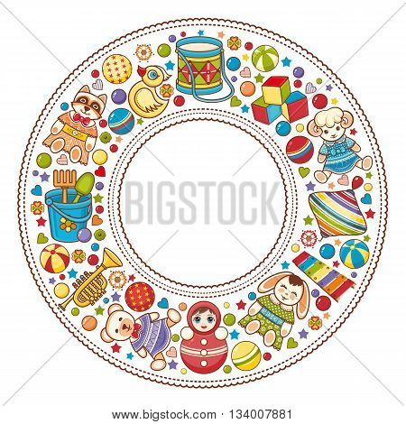 Children's colorful round frame. Kids toy set. Baby background. Happy birthday greeting card.