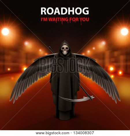 RoadHog Ilustration of black scytheman with wings and text-i am waiting for you-over blurred road with lights