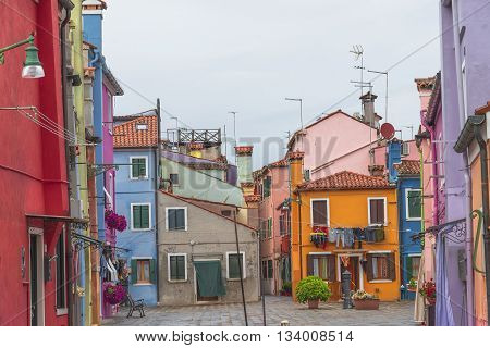 Colorful Cityscape Of Burano, An Island Nearby Venice, Italy
