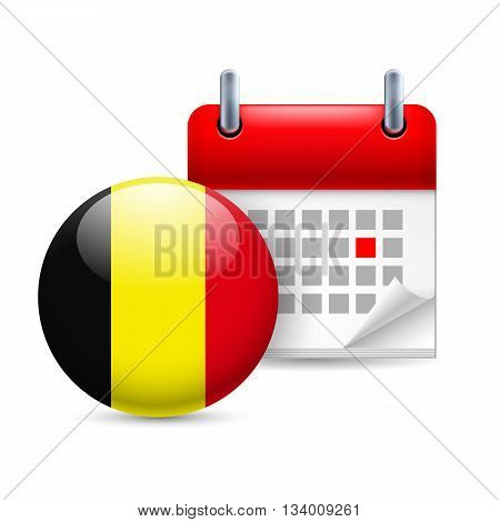 Calendar and round Belgian flag icon. National holiday in Belgium