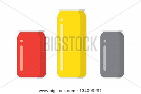 Vector illustration of aluminum drink cans in different colors isolated on white background