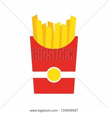 French fries. in red paper Box. Fast food menu. Vector illustration. French fries flat design. French fries isolated on white background.