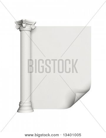 Architecture column with blank paper
