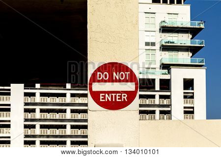 MIAMI, USA - AUG 3, 2012: do not enter sign at a private parking space