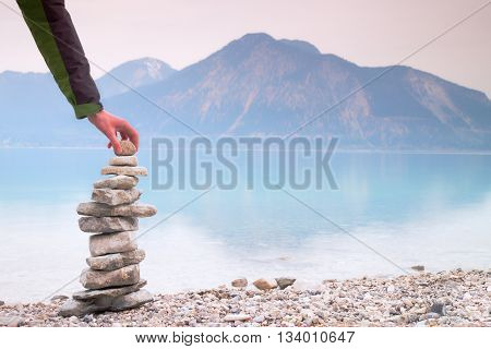 Man Built Pyramid From Pebbles. Balanced Stones Pyramide Memories