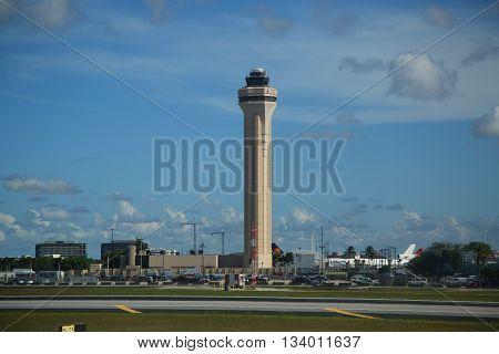 MIAMI, FLORIDA - JUNE 1, 2016: Air Traffic Control Tower at Miami International Airport.