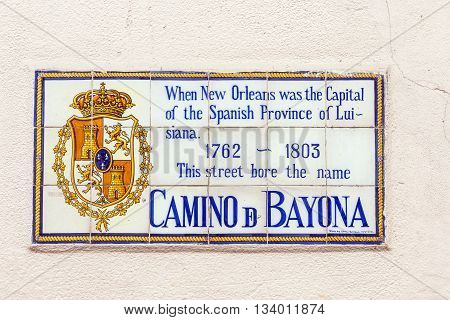 NEW ORLEANS, USA - AUG 5, 2012: old street name Camino de Bayona painted on tiles in the French quarter in New Orleans