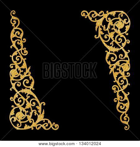 Ornament elements vintage gold floral designs on black