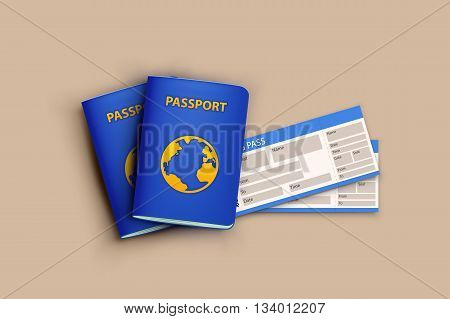 illustration of passports with boardong pass lying on bright bakground