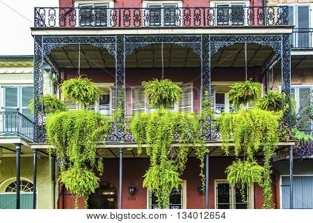 NEW ORLEANS, USA - JUNE 4, 2012: old New Orleans houses in french Quarter