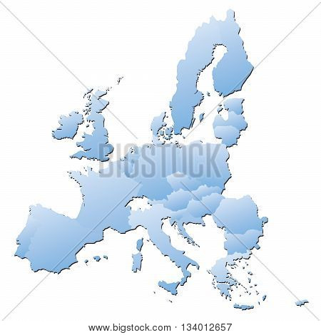 Blue borders of European Union. Vector Illustration.