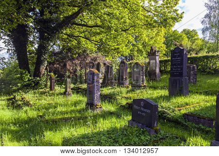 ST. WENDEL, GERMANY - JAN 4, 2014: jewish cemetery in St. Wendel at the Galgenberg
