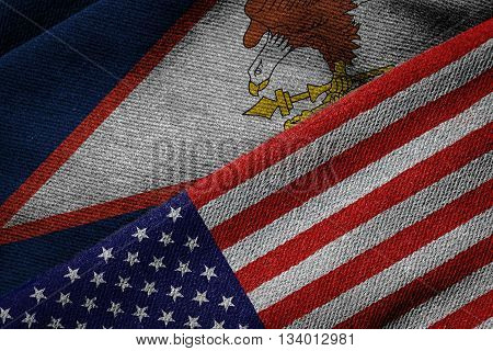 Flags Of Usa And American Samoa On Grunge Texture