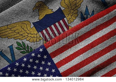 Flags Of Usa And Us Virgin Islands On Grunge Texture