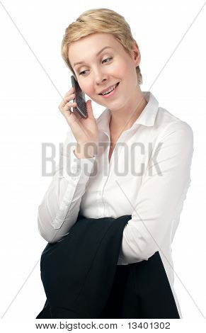 Young Business Woman mit Telefon