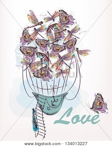 Beautiful vector illustration or card with air balloon created from dragonfly and butterflies in watercolor rustic style