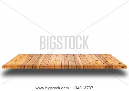 Empty wooden shelf on white background. For display or montage your products.