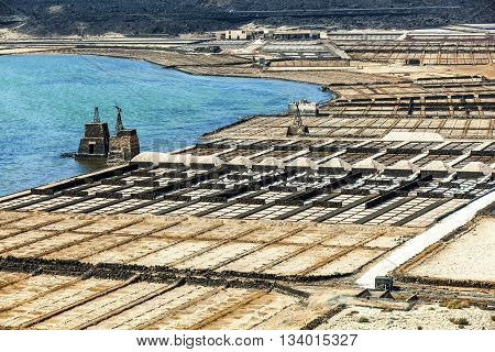 salt basins in saline de Janubio in Lanzarote