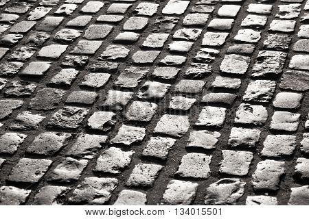 old grey cobble stone street In Frankfurt