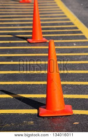 close up on traffic cones on the street