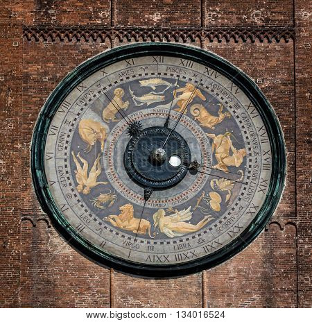 The clock on the Torrazzo tower is the largest astronomical clock in the world painted by Paolo Scazzola in 1483 shows the sky with zodiac constellations and the Sun and Moon moving through them.