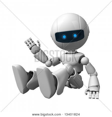 Funny robot sitting hello