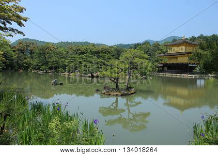 KYOTO, JAPAN - MAY 21, 2016: Zen Buddhist Temple Kinkaku-Ji at Midday.