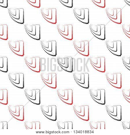 Abstract Geometric Pattern. A Seamless  Background. Black , White And Red Texture.