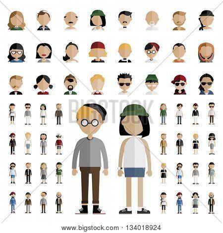 Diversity Community People Flat Design Icons Concept
