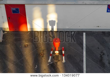 Water Hydrant For Fire Brigade Beside A Parking Lot