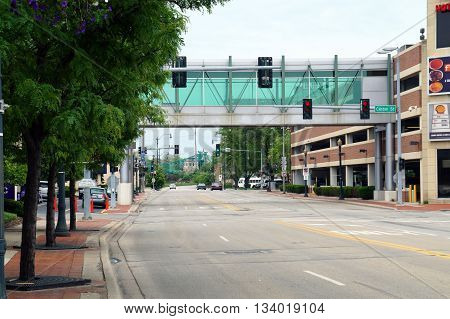 JOLIET, ILLINOIS / UNITED STATES - MAY 24, 2015: The pedestrian bridge, in downtown Joliet, Illinois, between Harrah's Casino and a parking garage