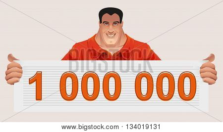 Man holding ticket to win. Check for million. Illustration in vector format
