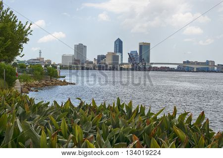 JACKSONVILLE, FLORIDA - June 6, 2016: View of the Jacksonville Landing Florida skyline as seen from the river side on St. Johns River