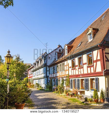 FRANKFURT - GERMANY - APR 5, 2012: beautiful half-timbered houses in Frankfurt Hoechst