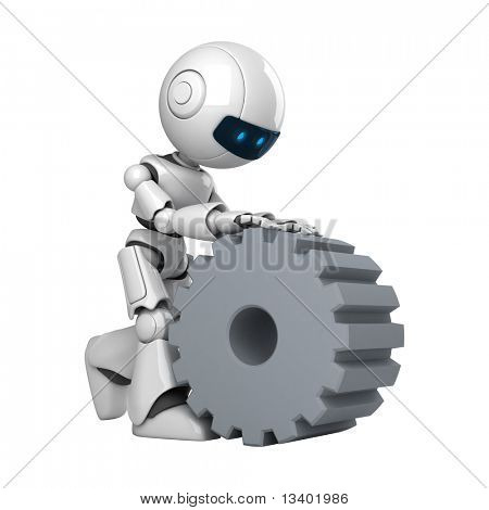 Funny robot walk with cogwheel