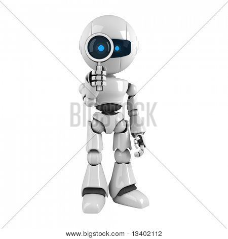 Funny robot with magnifying glass