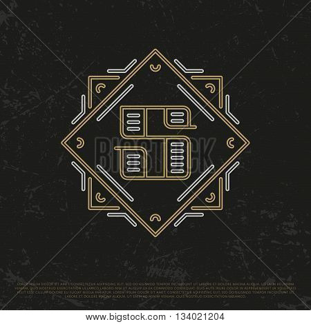 Vector Gold Number 5. Sign Five. Fifthly monogram