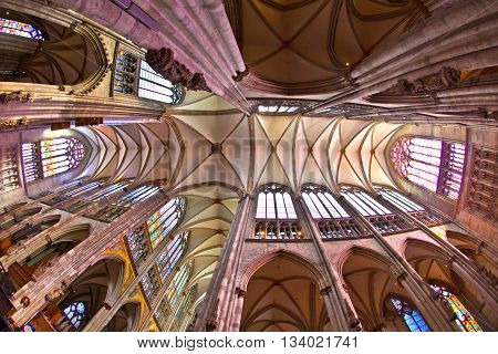 COLOGNE, GERMANY - JUNE 4, 2011: beautiful ceiling of the dome in cologne