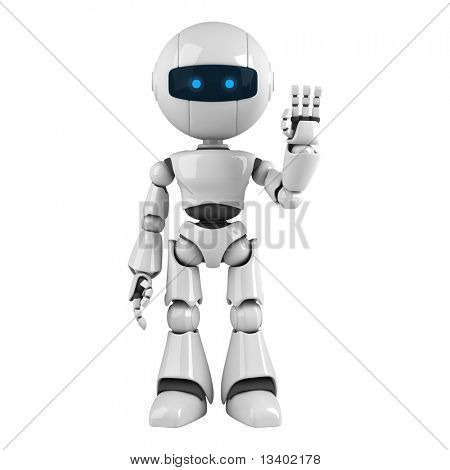 Funny robot stay hello