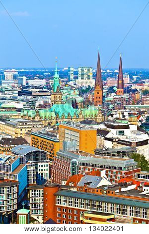 HAMBURG, GERMANY - JUNE 3, 2011: cityscape of Hamburg from the famous tower Michaelis with view to the city and the harbor