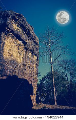Boulders Against Beautiful Sky And Full Moon Over Tranquil Nature. Cross Process And Vintage Tone.