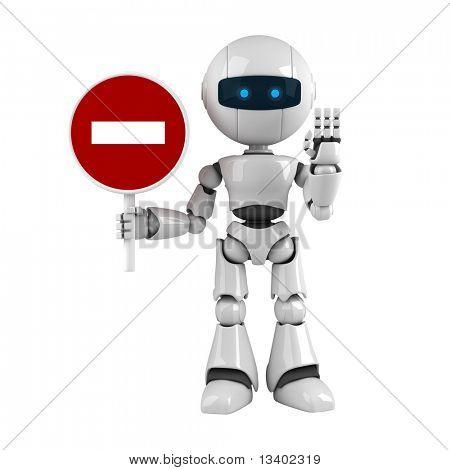 Estancia divertido robot con señal de stop