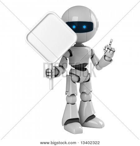 Estancia divertido robot con signo en blanco