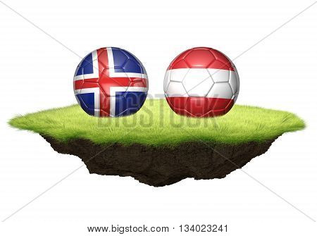Iceland and Austria team balls for football championship tournament, 3D rendering